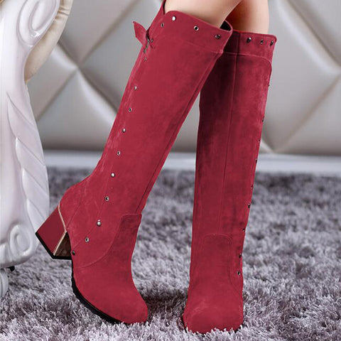 Suede Pure Color Round Toe Middle Block Heel Knee High Boots 9 Dark red