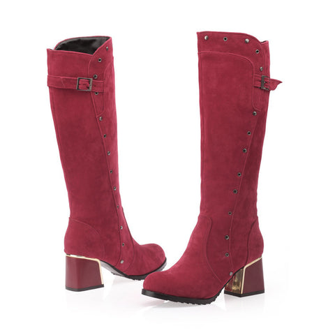 Suede Pure Color Round Toe Middle Block Heel Knee High Boots 9.5 Dark red