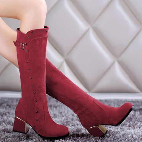 Suede Pure Color Round Toe Middle Block Heel Knee High Boots 8.5 Dark red