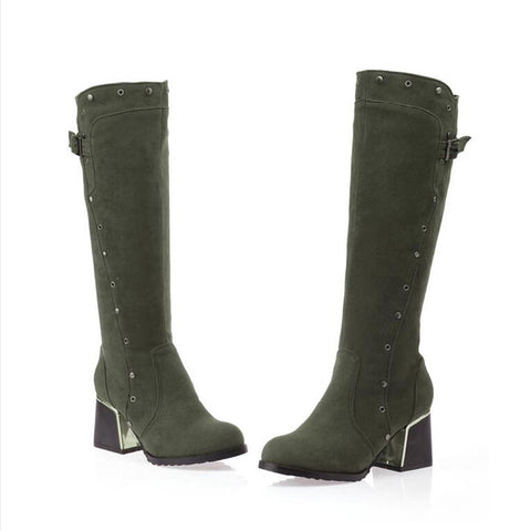 Suede Pure Color Round Toe Middle Block Heel Knee High Boots 9.5 Dark green