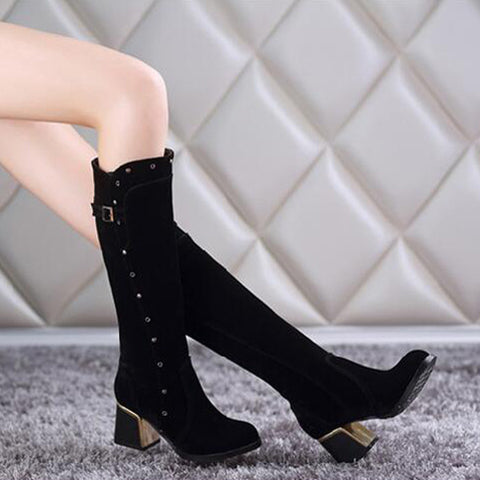 Suede Pure Color Round Toe Middle Block Heel Knee High Boots 9 Black