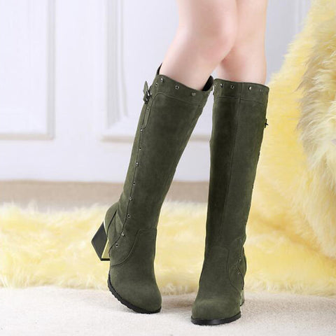 Suede Pure Color Round Toe Middle Block Heel Knee High Boots 8.5 Dark green