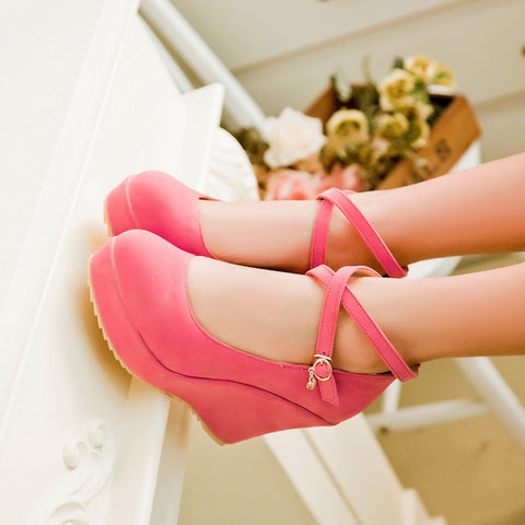 Suede Pure Color Round Toe Ankle Strap Platform Wedges 36 Pink