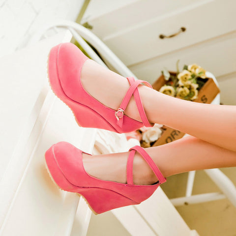 Suede Pure Color Round Toe Ankle Strap Platform Wedges 37 Pink