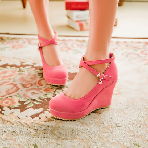 Suede Pure Color Round Toe Ankle Strap Platform Wedges 39 Pink