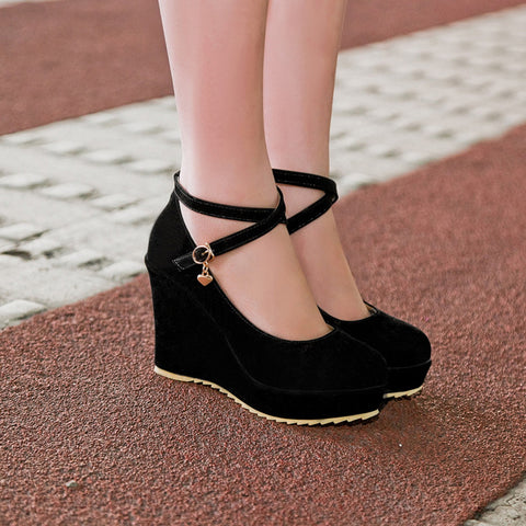 Suede Pure Color Round Toe Ankle Strap Platform Wedges 37 Black