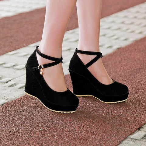 Suede Pure Color Round Toe Ankle Strap Platform Wedges 36 Black