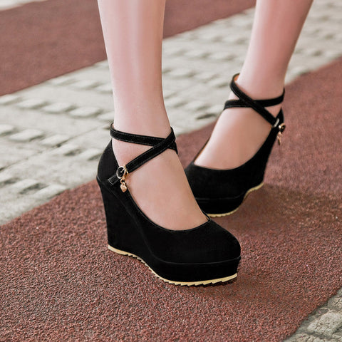 Suede Pure Color Round Toe Ankle Strap Platform Wedges 39 Black
