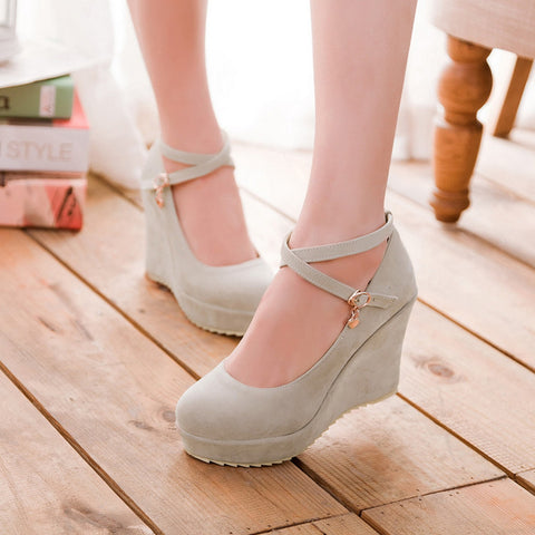 Suede Pure Color Round Toe Ankle Strap Platform Wedges 39 Beige