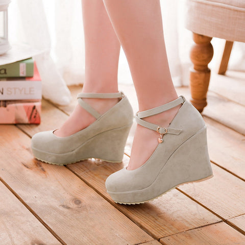 Suede Pure Color Round Toe Ankle Strap Platform Wedges 36 Beige