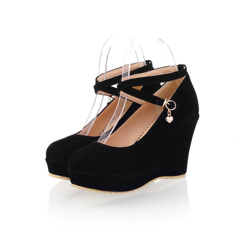 Suede Pure Color Round Toe Ankle Strap Platform Wedges 38 Black