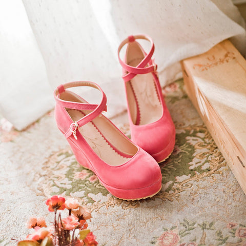 Suede Pure Color Round Toe Ankle Strap Platform Wedges 38 Pink