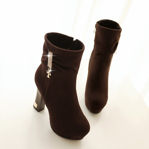 Suede Pure Color Round Toe Block Heel Crystal Embellished Side Zipper Ankle Boots 9 Brown