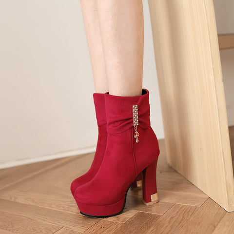 Suede Pure Color Round Toe Block Heel Crystal Embellished Side Zipper Ankle Boots 9.5 Red