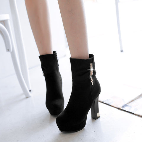 Suede Pure Color Round Toe Block Heel Crystal Embellished Side Zipper Ankle Boots 9.5 Black