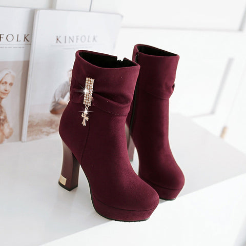 Suede Pure Color Round Toe Block Heel Crystal Embellished Side Zipper Ankle Boots 9 Purple