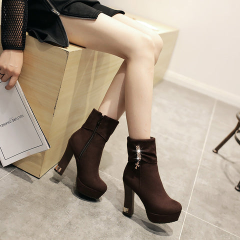 Suede Pure Color Round Toe Block Heel Crystal Embellished Side Zipper Ankle Boots 9.5 Brown