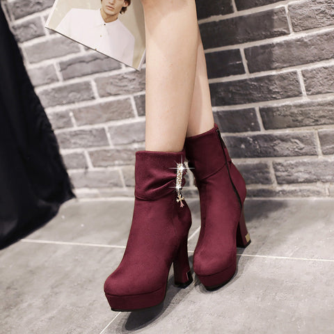 Suede Pure Color Round Toe Block Heel Crystal Embellished Side Zipper Ankle Boots 9.5 Purple