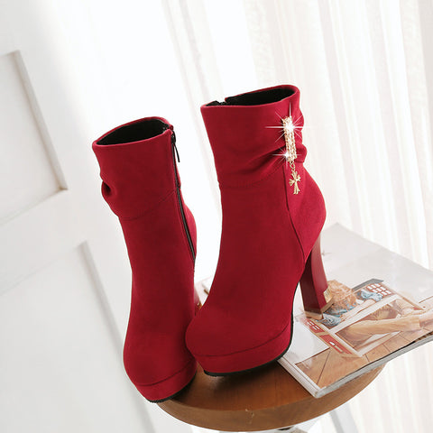 Suede Pure Color Round Toe Block Heel Crystal Embellished Side Zipper Ankle Boots 9 Red