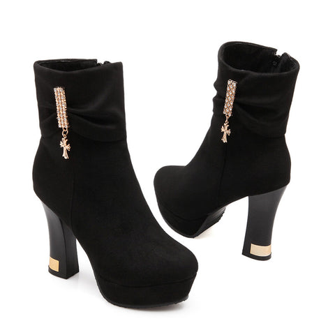 Suede Pure Color Round Toe Block Heel Crystal Embellished Side Zipper Ankle Boots 9 Black