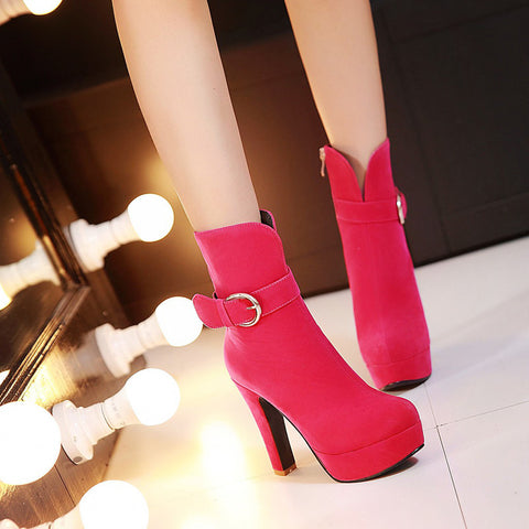Suede Pure Color Round Toe Block Heel Side Zipper Strap Mid-calf Boots 8.5 Pink