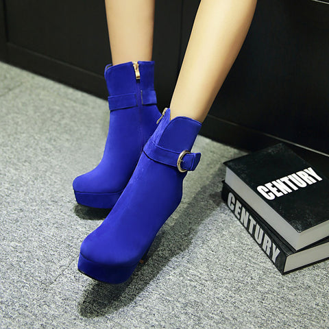 Suede Pure Color Round Toe Block Heel Side Zipper Strap Mid-calf Boots 8.5 Blue