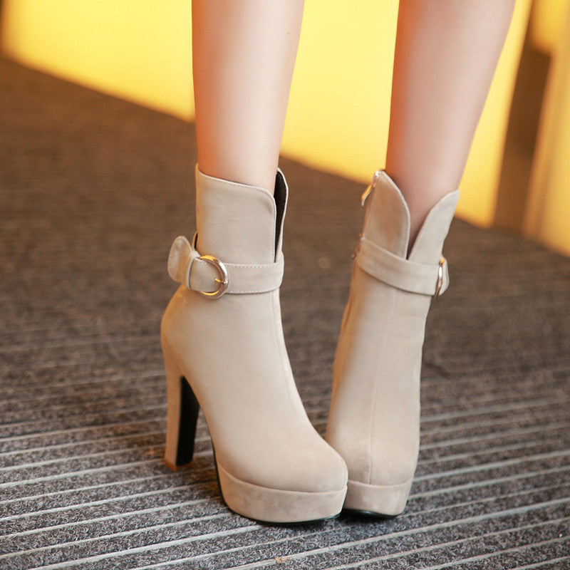 Suede Pure Color Round Toe Block Heel Side Zipper Strap Mid-calf Boots 8.5 Beige