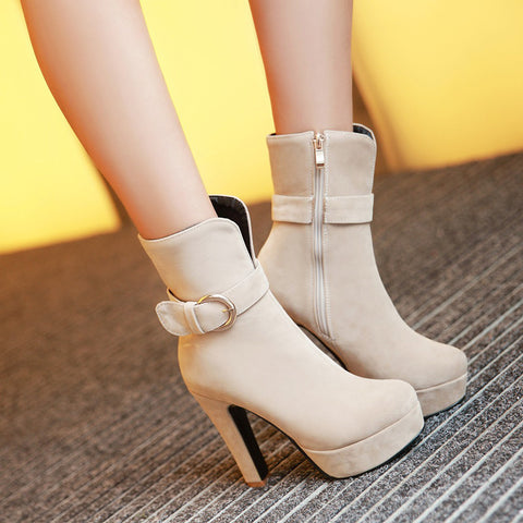 Suede Pure Color Round Toe Block Heel Side Zipper Strap Mid-calf Boots 9.5 Beige