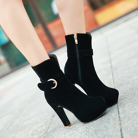 Suede Pure Color Round Toe Block Heel Side Zipper Strap Mid-calf Boots 8.5 Black