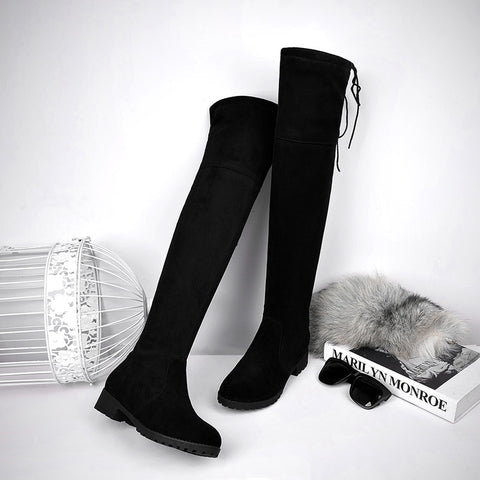 Suede Black Round Toe Block Heel Side Zipper Over Knee High Boots 9 Black