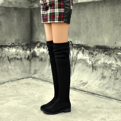 Suede Black Round Toe Block Heel Side Zipper Over Knee High Boots 8 Black