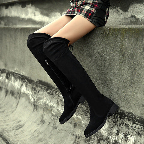 Suede Black Round Toe Block Heel Side Zipper Over Knee High Boots 8.5 Black
