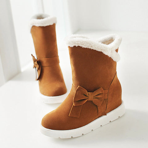 Suede Pure Color Round Toe Flat Heel Side Bowtie Snow Boots 9 Brown