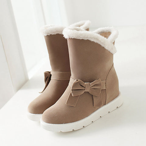 Suede Pure Color Round Toe Flat Heel Side Bowtie Snow Boots 9 Beige