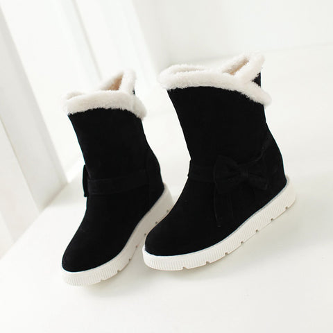 Suede Pure Color Round Toe Flat Heel Side Bowtie Snow Boots 9 Black