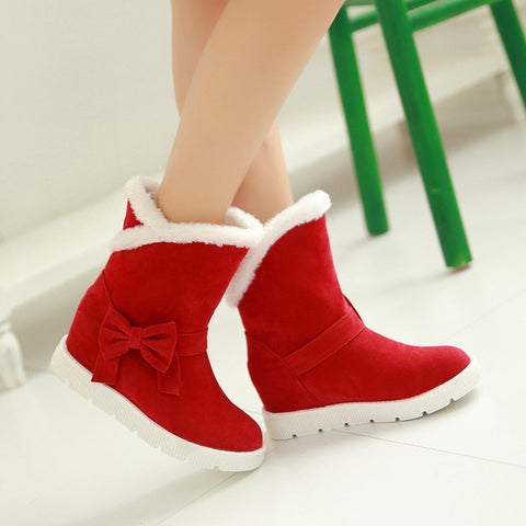 Suede Pure Color Round Toe Flat Heel Side Bowtie Snow Boots 8 Red