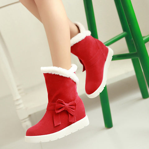 Suede Pure Color Round Toe Flat Heel Side Bowtie Snow Boots 9.5 Red