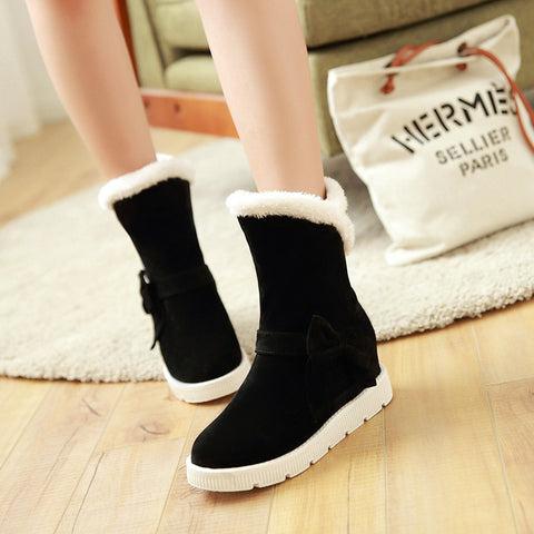 Suede Pure Color Round Toe Flat Heel Side Bowtie Snow Boots 8 Black
