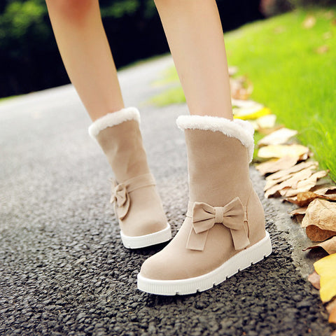 Suede Pure Color Round Toe Flat Heel Side Bowtie Snow Boots 9.5 Beige