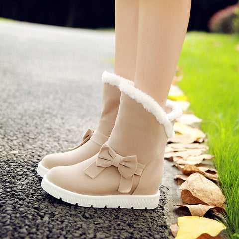 Suede Pure Color Round Toe Flat Heel Side Bowtie Snow Boots 8.5 Beige