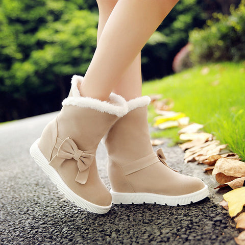 Suede Pure Color Round Toe Flat Heel Side Bowtie Snow Boots 8 Beige