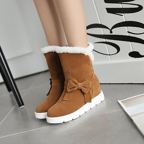 Suede Pure Color Round Toe Flat Heel Side Bowtie Snow Boots 8.5 Brown