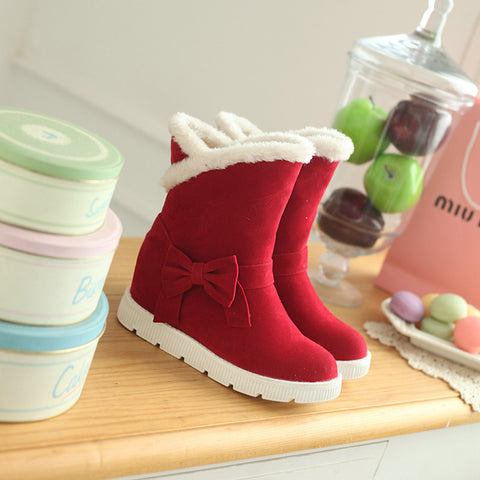 Suede Pure Color Round Toe Flat Heel Side Bowtie Snow Boots 9 Red