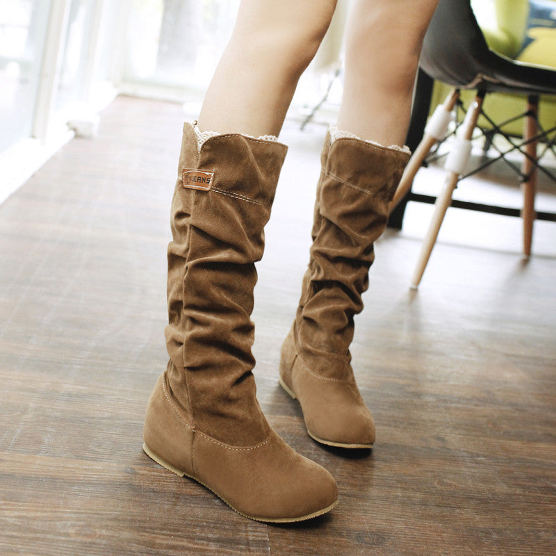 Suede Pure Color Round Toe Hidden Heel Lace Mid-calf Boots 9.5 Bronze