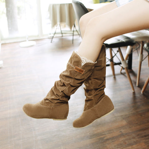 Suede Pure Color Round Toe Hidden Heel Lace Mid-calf Boots 8 Bronze