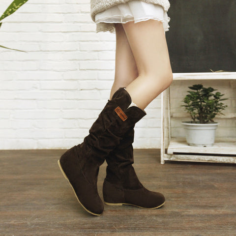 Suede Pure Color Round Toe Hidden Heel Lace Mid-calf Boots 9.5 Brown
