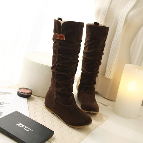 Suede Pure Color Round Toe Hidden Heel Lace Mid-calf Boots 9 Brown