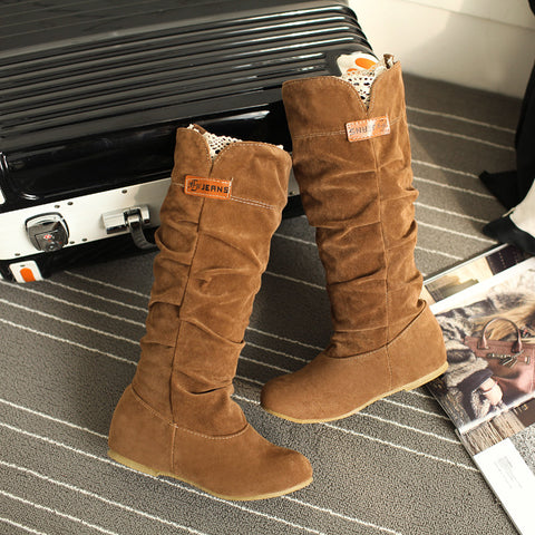 Suede Pure Color Round Toe Hidden Heel Lace Mid-calf Boots 9 Bronze