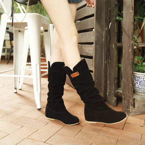 Suede Pure Color Round Toe Hidden Heel Lace Mid-calf Boots 9.5 Black
