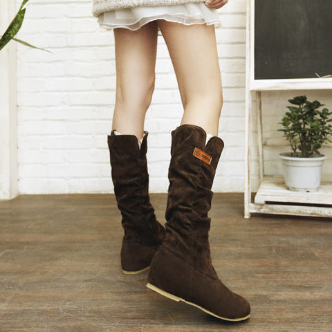 Suede Pure Color Round Toe Hidden Heel Lace Mid-calf Boots 8 Brown